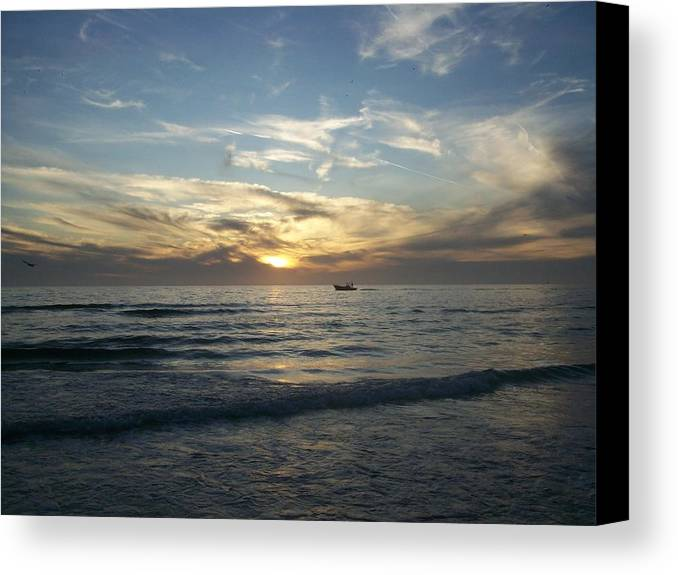 Sunset Canvas Print featuring the photograph Boating At Sunset by Tiffney Heaning