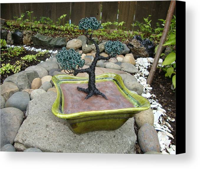 Tree Canvas Print featuring the sculpture Bonsai Tree Green Medium by Scott Faucett