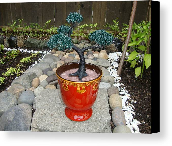Tree Canvas Print featuring the sculpture Bonsai Tree Medium Red Glass Vase Planter by Scott Faucett