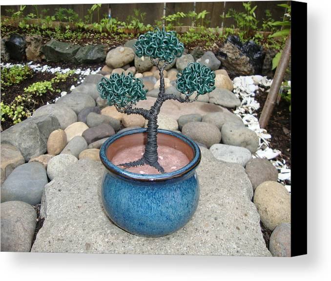 Tree Canvas Print featuring the sculpture Bonsai Tree Small Round Planter Blue by Scott Faucett