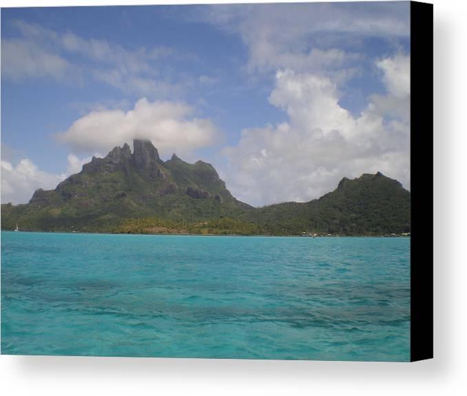 Bora Bora From An Island Motu Canvas Print featuring the photograph Bora Bora From An Island Motu by Paul Jessop