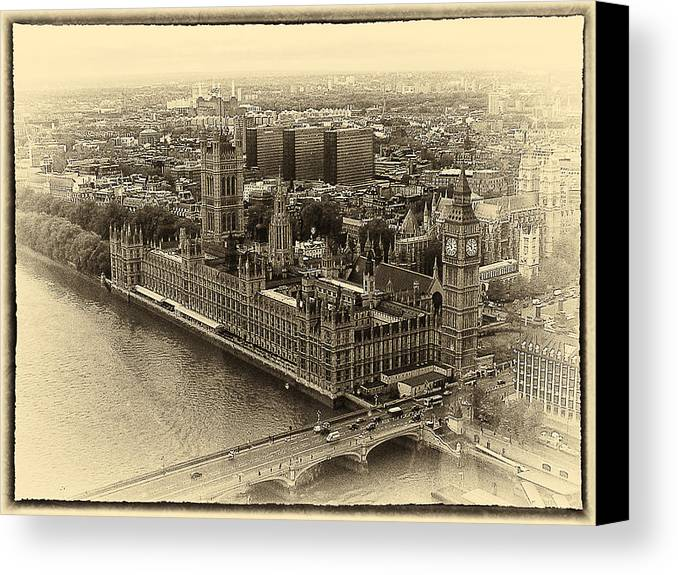 B&w Canvas Print featuring the photograph British Parliment by Scott Massey