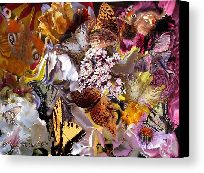 Butterfly Canvas Print featuring the digital art Butterfly Garden by Monika A Leon