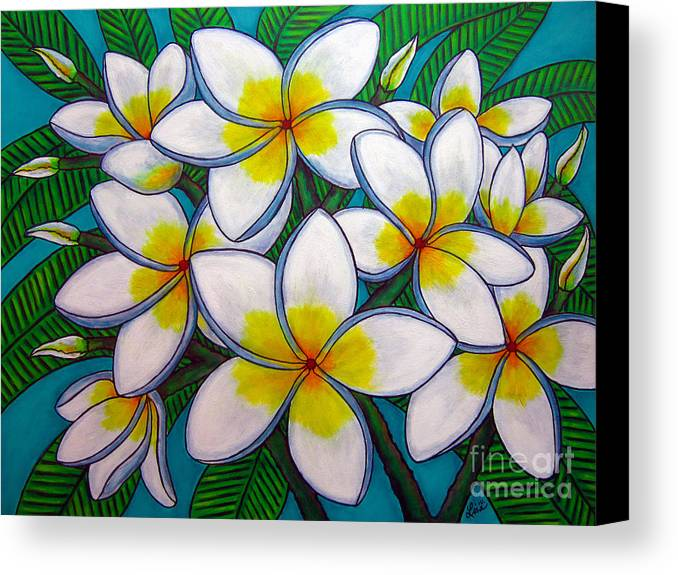 Frangipani Canvas Print featuring the painting Caribbean Gems by Lisa Lorenz