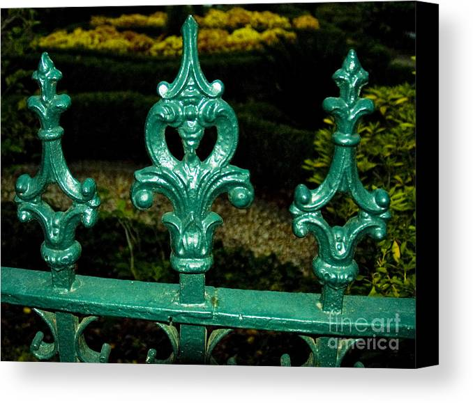 Cast Canvas Print featuring the photograph Cast Iron Fence Top 2 by Tim Mulina