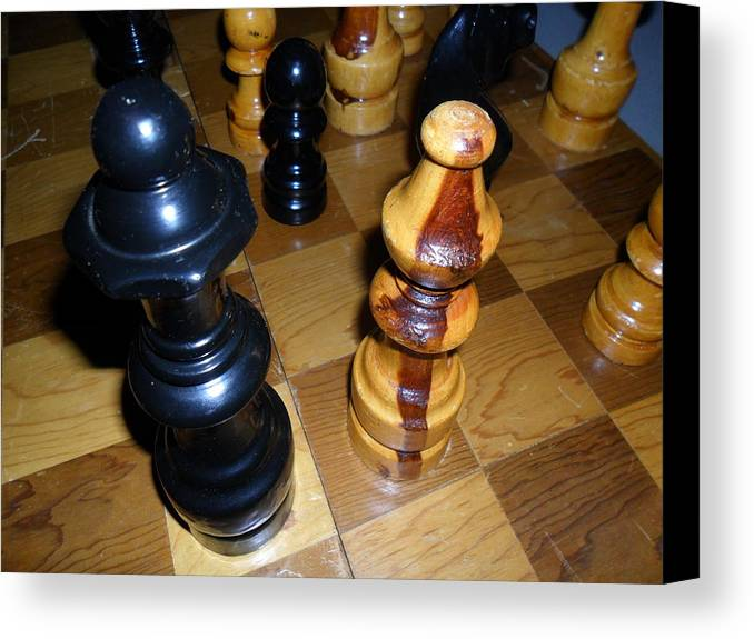 Chess Board Canvas Print featuring the photograph Check by Lee Findlay