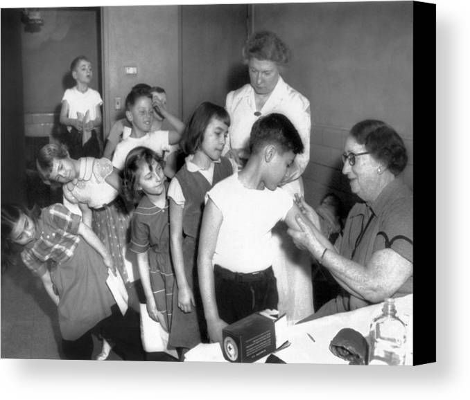 History Canvas Print featuring the photograph Children Inoculated Against Diphtheria by Everett