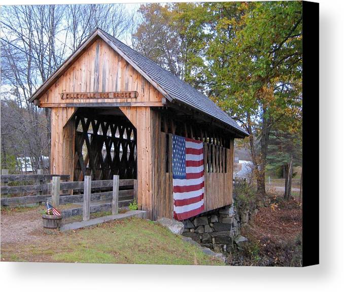 Nh Canvas Print featuring the photograph Cilleyville Covered Bridge by Wayne Toutaint