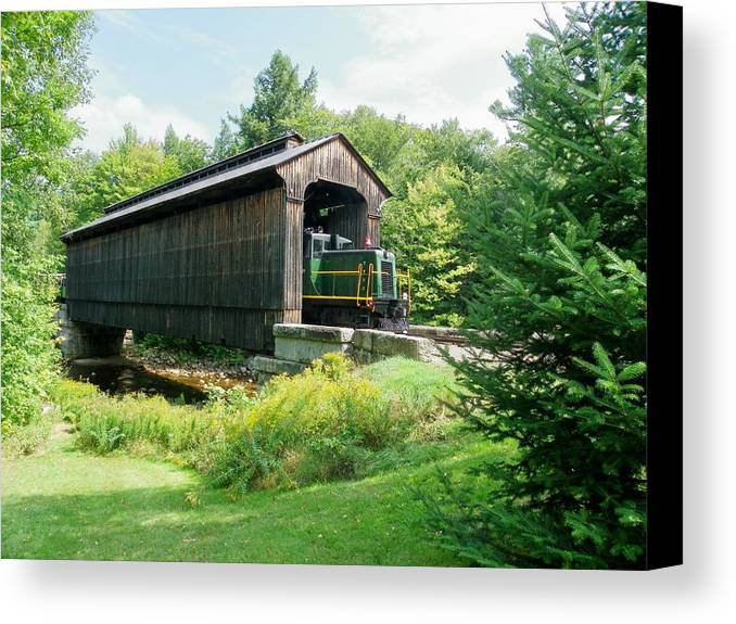 Nh Canvas Print featuring the photograph Clarks Covered Bridge by Wayne Toutaint