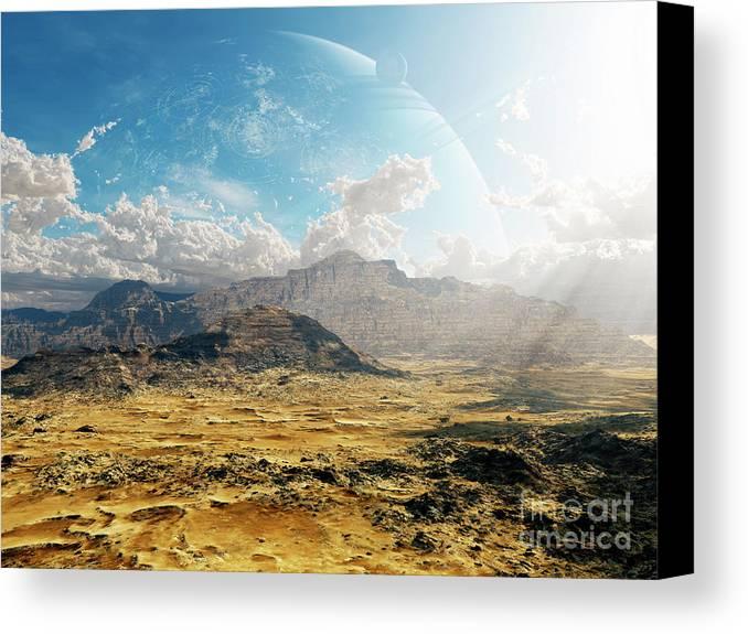 Artwork Canvas Print featuring the digital art Clouds Break Over A Desert On Matsya by Brian Christensen