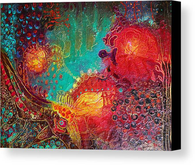 Red Canvas Print featuring the painting Coral World by Lolita Bronzini