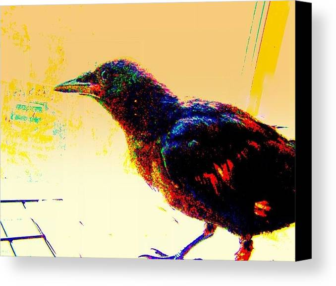 Crow Canvas Print featuring the mixed media Crow Walk by YoMamaBird Rhonda