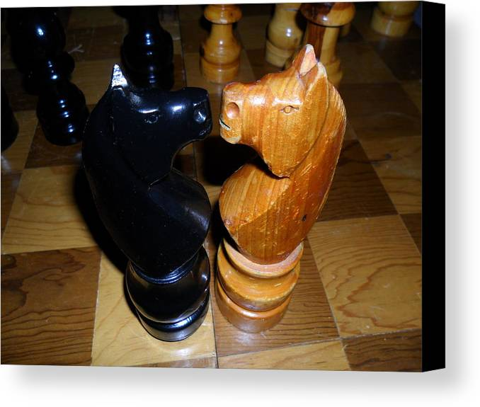 Chess Board Close Up Wood Canvas Print featuring the photograph Face To Face by Lee Findlay