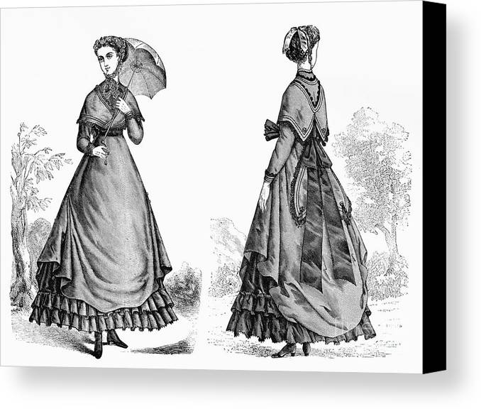 1868 Canvas Print featuring the photograph Fashion: Women, 1868 by Granger