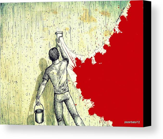Internal Reform Canvas Print featuring the digital art Father Depart From Me This Gray by Paulo Zerbato