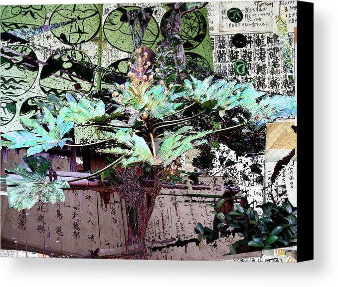Canvas Print featuring the digital art Feuilles Kyoto by Sally Fowler