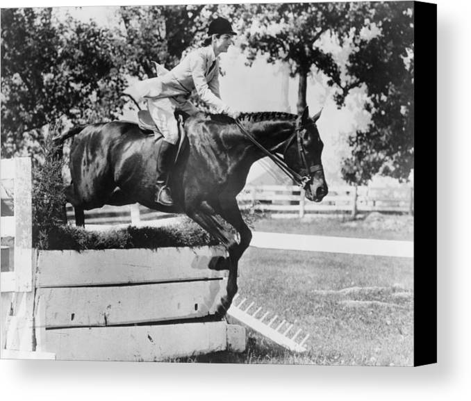 History Canvas Print featuring the photograph First Lady Jacqueline Kennedy, Riding by Everett