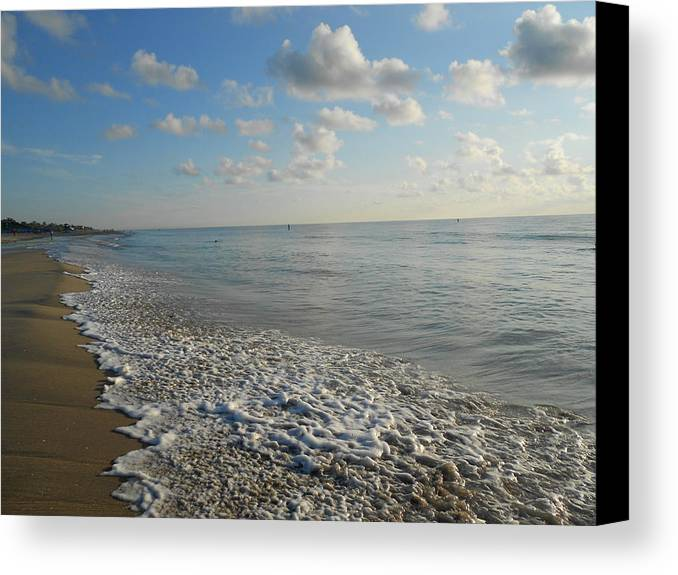 Sunrise Canvas Print featuring the photograph Foamy Seas by Sheila Silverstein