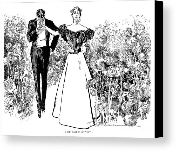 1897 Canvas Print featuring the photograph In Garden Of Youth by Charles Dana Gibson