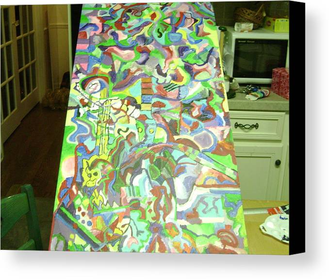 Dragon Canvas Print featuring the painting Guitar And The Dragon by Danielle Nicholson