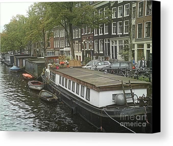 Rotterdam Canvas Print featuring the photograph Houseboats Of Rotterdam by Jennifer Sabir