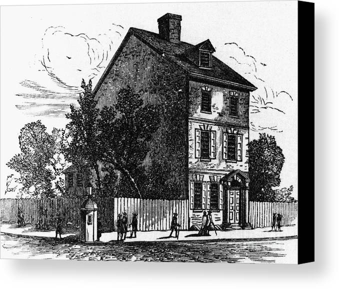 1776 Canvas Print featuring the photograph Jeffersons House, 1776 by Granger