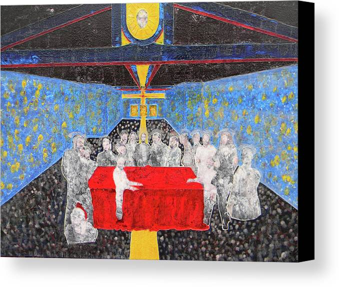 Religious Art Canvas Print featuring the painting Last Supper The Reunion by Marwan George Khoury