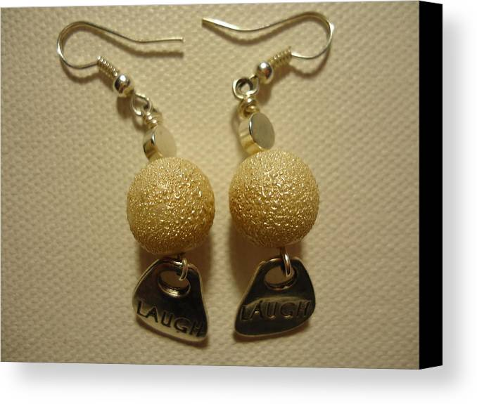 Greenworldalaska Canvas Print featuring the photograph Laugh In Pearl Earrings by Jenna Green