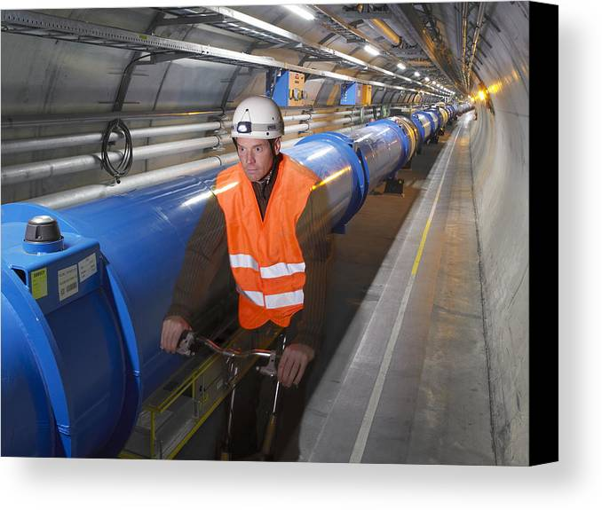 Lhc Canvas Print featuring the photograph Lhc Tunnel, Cern by David Parker
