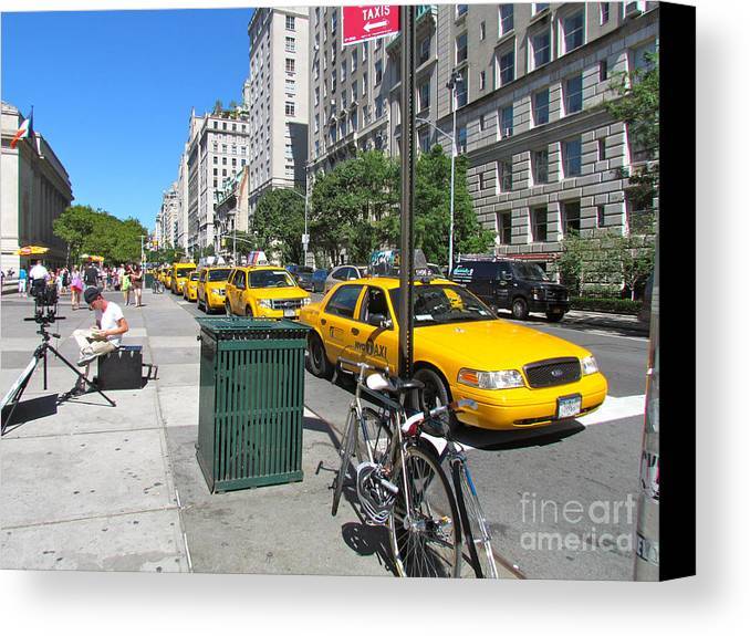 Taxis Canvas Print featuring the photograph Lined Up For Business by Randi Shenkman