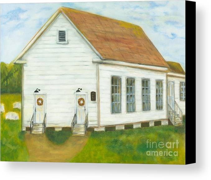 Church Canvas Print featuring the painting Little White Church by Sheila Feltner