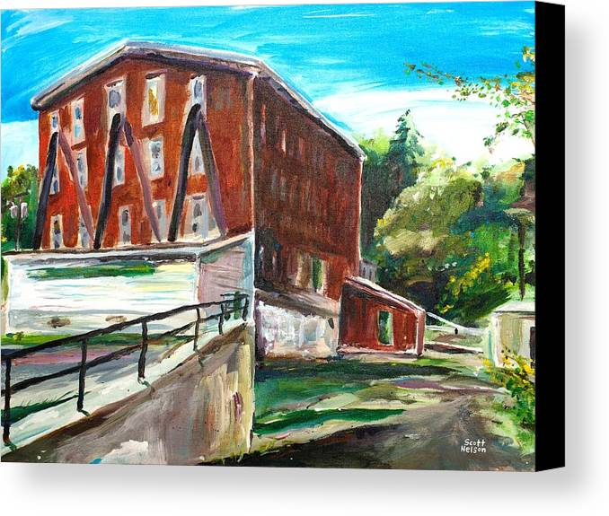 Mill Canvas Print featuring the painting Millbury Mill by Scott Nelson
