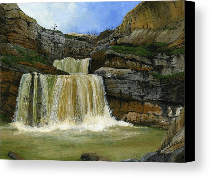 Landscape Canvas Print featuring the painting Mirusha Falls In Kosovo by Carlene Salazar