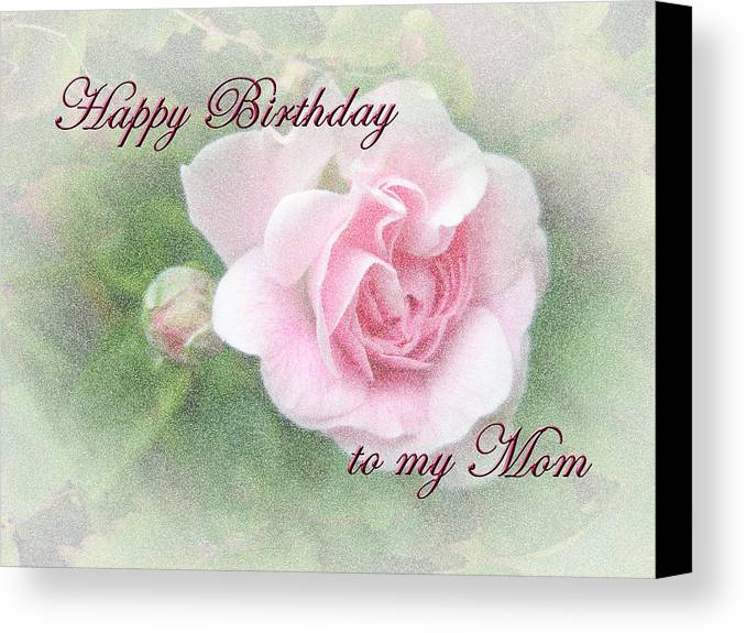 Mom birthday greeting card pink rose canvas print canvas art by birthday canvas print featuring the photograph mom birthday greeting card pink rose by mother nature m4hsunfo