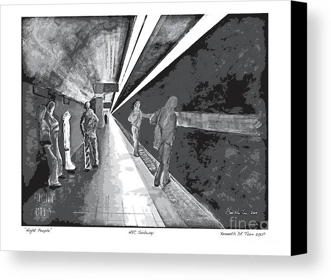 Night Canvas Print featuring the painting Night People In Black And White by Kenneth De Tore