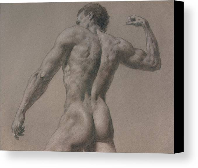 Man Canvas Print featuring the drawing Nude - 8 A by Valeriy Mavlo
