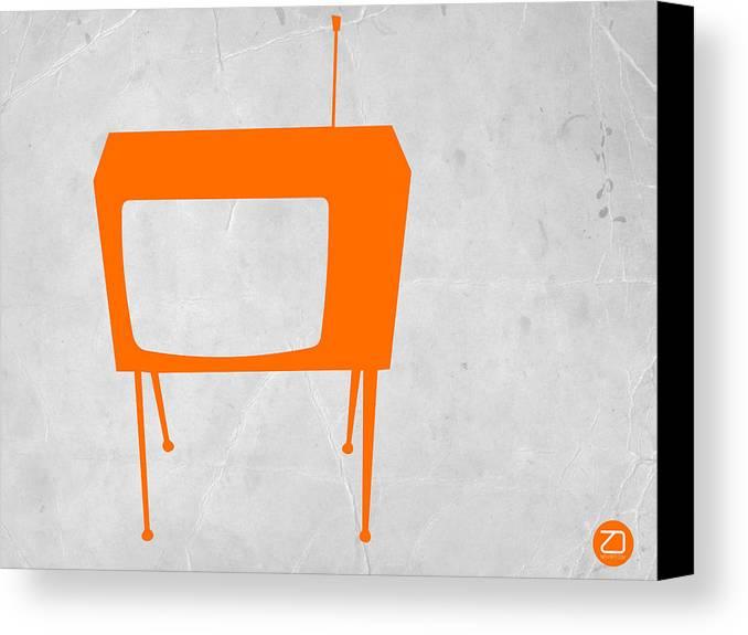 Kids Art Canvas Print featuring the digital art Orange Tv by Naxart Studio