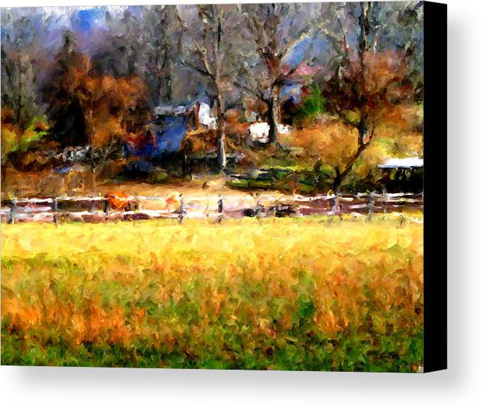 Farm Canvas Print featuring the digital art Our View by Marilyn Sholin