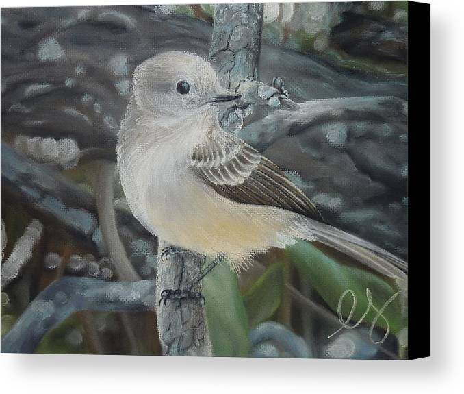 Birds Canvas Print featuring the pastel Out On A Limb by Estephy Sabin Figueroa