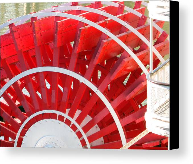 Old Town Sacramento Canvas Print featuring the photograph Paddle Wheel by Barry Jones
