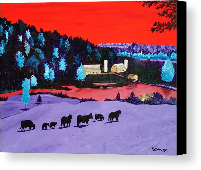Landscape Canvas Print featuring the painting Pastures And Pond by Randall Weidner