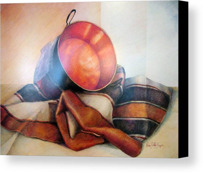 Copper Canvas Print featuring the drawing Perol Sobre Kepi by Sonia Tudela