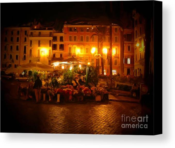Flowers Canvas Print featuring the photograph Piazza Flower Vendor by Michael Garyet