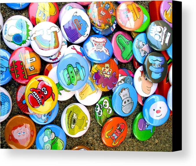 Pinback Canvas Print featuring the photograph Pinback Buttons by Jera Sky