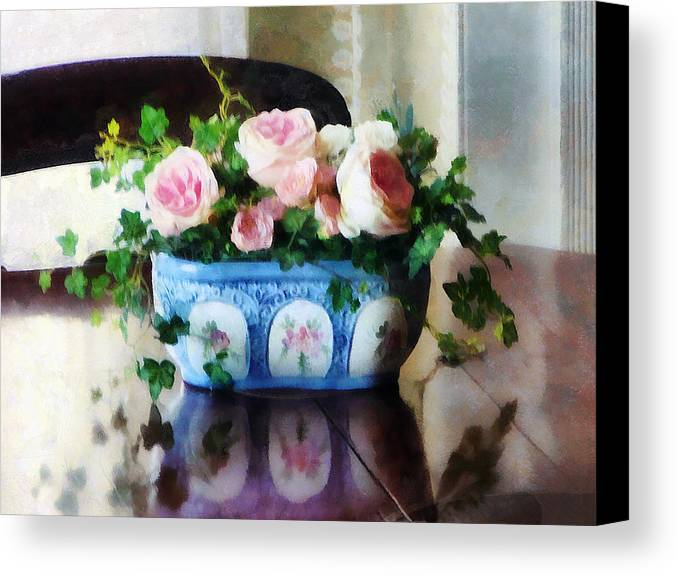 Rose Canvas Print featuring the photograph Pink Roses And Ivy by Susan Savad