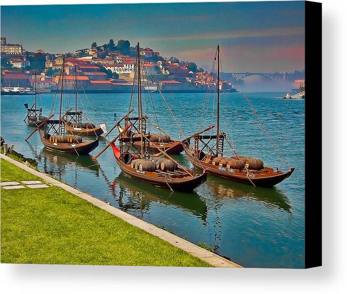 Porto Canvas Print featuring the photograph Porto Barges by Scott Massey