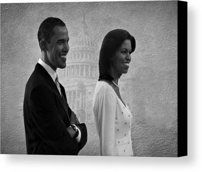 President Obama Canvas Print featuring the photograph President Obama And First Lady Bw by David Dehner
