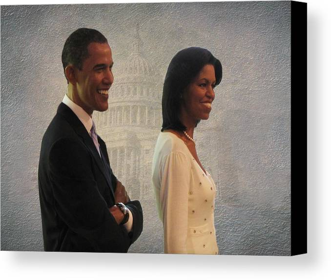 President Obama Canvas Print featuring the photograph President Obama And First Lady by David Dehner