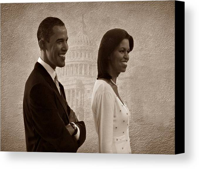 President Obama Canvas Print featuring the photograph President Obama And First Lady S by David Dehner