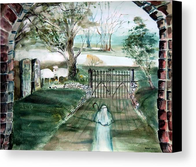 Pastoral Canvas Print featuring the painting Psalm 23 by Mindy Newman